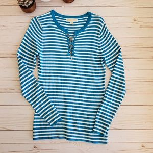 Michael Kors Blue and White Striped Sweater Size M
